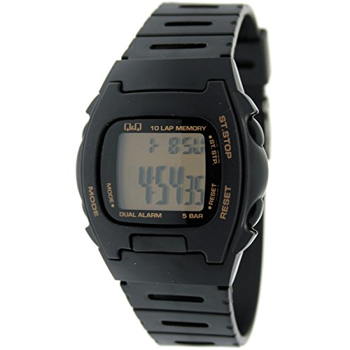 Reloj Digital Caballero Q&Q Mod.MAC5-109 - Crono con memorias, Doble Alarma, Luz - Caucho Negro