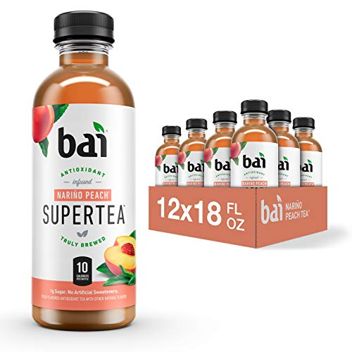 Bai Iced Tea Narino Peach Antioxidant Infused Supertea Crafted with Real Tea Black Tea White Tea 18 Fluid Ounce Bottles 12 count