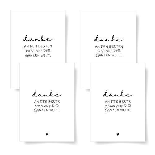 Donari® Danke Postkarten 4er Set DIN A6 für Familie ● Grußkarte für Eltern ● Edle Karten mit Sprüchen für Famiilie ● Danke Karte Schwarz Weiß ● Karte für Oma und Opa