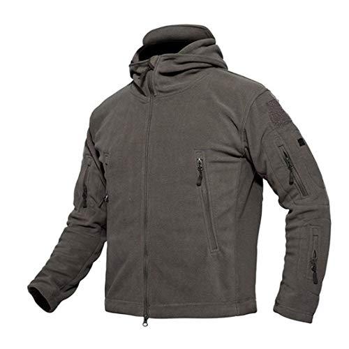 Sports de Plein air Vêtement Chaud Tactique Homme Polartec Militaire Chaud Polaire à Capuchon Veste Polaire Manteau Coupe-Vent Uniforme Militaire Gray XL