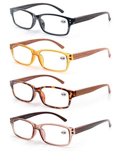 MODFANS 4 Pack Lesebrille 3.0 Herren/Damen,Gute Brillen,Hochwertig,Komfortabel,Rechteckig,Holz-Effekt,Super Lesehilfe,fur Manner und Frauen