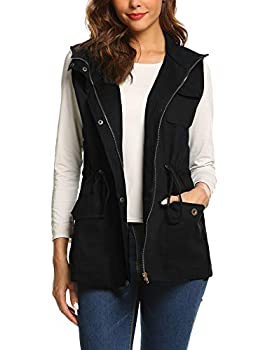 Beyove Womens Lightweight Sleeveless Military Anorak Long Vest Light Summer Jacket