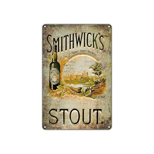 Tin Sign Fashion Smithwick's Stout Craft Vintage Retro Metal Aluminum Sign Wall Plaque for Indoor Outdoor 7.8x11.8 Inch