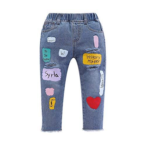 Modder Koninkrijk Kleine Meisjes Ripped Jeans Elastische Taille Kleurrijke Letters