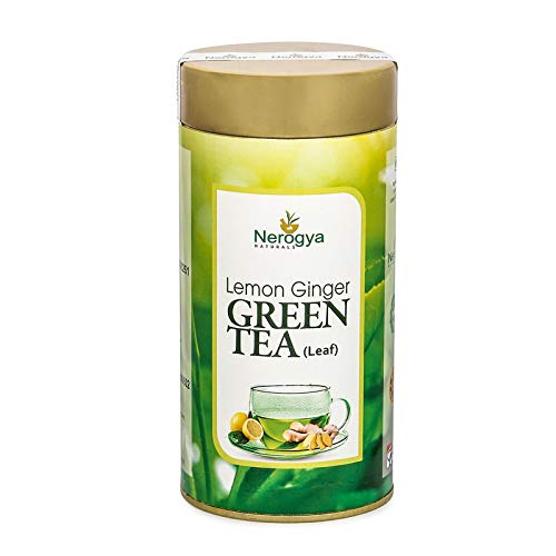 Nerogya Naturals Lemon Ginger Green Tea (Leaf) 100 Gram Immunity Booster for Stress Relieving Body Detox Blood Pressure and Weight Loss