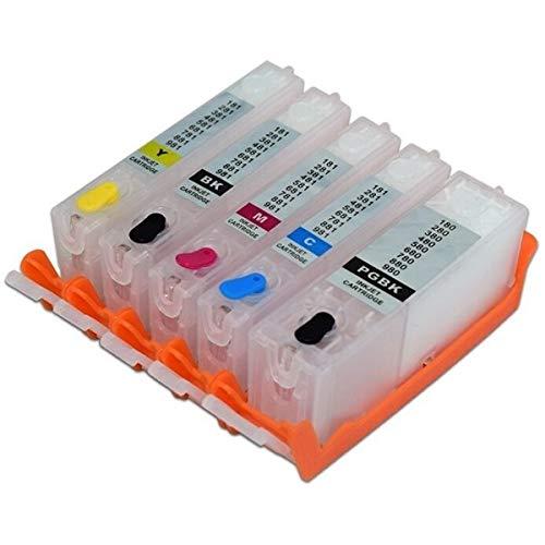 5 wiederbefüllbare Tintenpatronen wie PGI-580 XXL, CLI-581 XXL black, cyan, magenta, yellow mit (Auto) Reset Chips