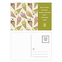 チェリークリームチョコレートアイスクリーム 詩のポストカードセットサンクスカード郵送側20個