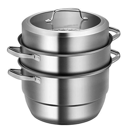 Olla de vapor de acero inoxidable 304 de alta capacidad, 3 niveles, apto para lavavajillas, utensilios de cocina de inducción con tapa de vidrio y asas resistentes al calor (tamaño: 26 cm)