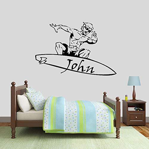 Tianpengyuanshuai Surfer Wandtattoos personalisierte Vinyl Fenster Aufkleber Wohnzimmer Schlafzimmer Kinder Dekoration Benutzerdefinierten Namen 102x66cm