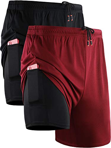 Neleus Men's 2 in 1 Running Shorts with Liner,Dry Fit Workout Shorts with Pockets,6070,2 Pack,Black/Red,US L,EU XL