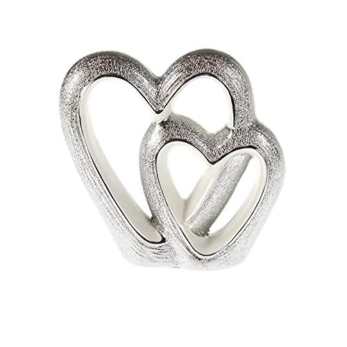 Escultura moderna en forma de dos corazones de porcelana blanco/plata, 16 x 16 cm