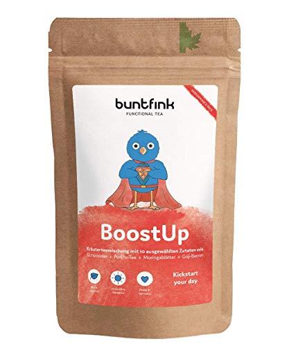 "Buntfink®""BoostUp"" Morgen-Tee mit Koffein (Teein): Yerba Mate + Sencha Grüntee + Goji + Moringa, 100% natürlicher Kräutertee aus Deutschland, 60g loser Tee. Buntfink"