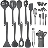 AIKKIL 24-Piece Silicone Spatula Set, Nonstick Kitchen Cooking Utensils Set, Heat Resistant Silicone Kitchen Gadget Utensil for Cookware (Gray)