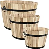 Sunnydaze Round Unfinished Acacia Wood Barrel Planters - Set of 3 - Modern Rustic Outdoor Decorative Standing Planters - Includes 14.75-Inch, 18-Inch, and 22-Inch Diameter Pots