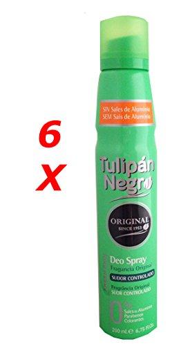 Tulipán Negro Original Deo Spray 200ml. Pack de 6