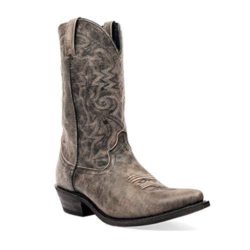 Masterson Men's Snip Toe Cowboy Boot (Distressed Black and Tan, 9.5)