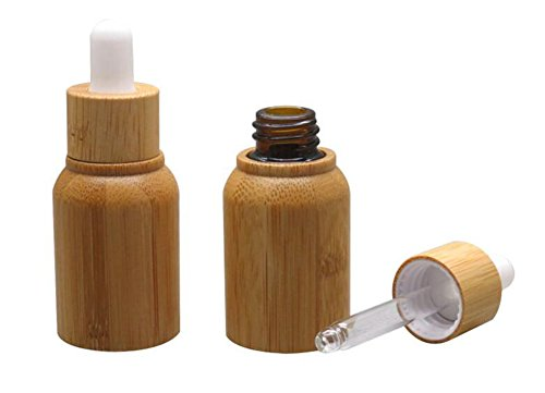 1PCS 10ML 10G Bamboo Glass Eye Dropper Bottle with Pipettes Cosmetic Sample Container Bottles for Essential Oil Aromatherapy Use