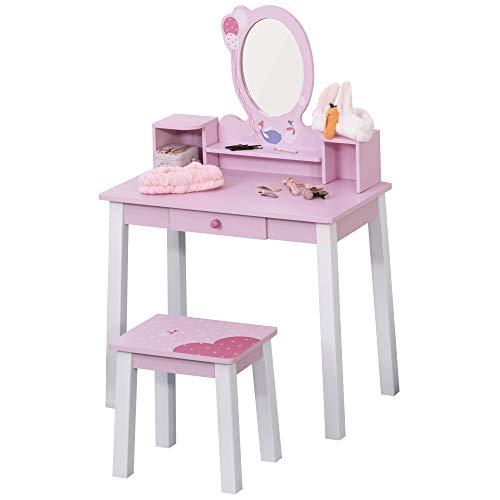 HOMCOM Tocador Infantil con Taburete y Espejo Tipo Princesa Mesita de Maquillaje de Madera Rosa...
