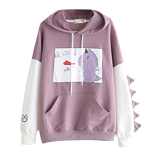Women Winter Warm Hoodie Coat Cute Hoodies for Teen Girls Sweatshirt Long Sleeve Colorblock Dinosaur Pullovers