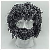 Womens Mens Skullies Beanies Hat Handmade Knitted Men Winter Crochet Mustache Hat Beard Beanies Face Tassel Bicycle Mask Ski Warm Cap Funny Hat Gift New Gray