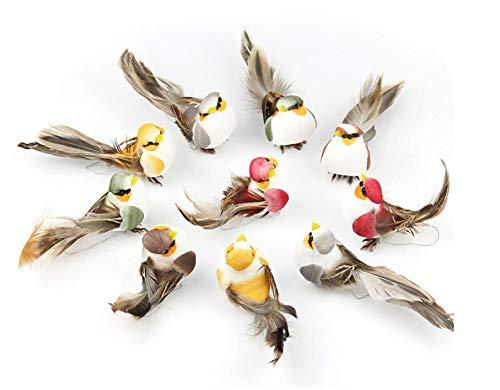 Shiwaki 12 Piezas de Figuras de pájaros pájaros de Plumas de Espuma...
