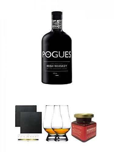 The Pogues Irish Whiskey 0,7 Liter + Schiefer Glasuntersetzer eckig ca. 9,5 cm Ø 2 Stück + The Glencairn Glass Whisky Glas Stölzle 2 Stück + Redbreast 12 Jahre Himbeere Marmelade 150 Gramm Glas