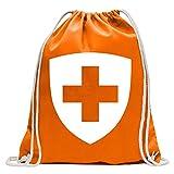 Kiwistar Mochila de deporte con escudo de Suiza, de algodón, con correa, Mandarina., Talla única