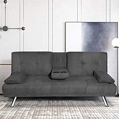 MOOSENG Futon Sofa Bed for Living Room Fold Up & Down Recliner Couch w/Metal Legs and 2 Cup Holders, Convertible Love Seat Home Furniture for Apartment Essential