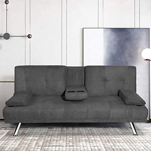 MOOSENG Futon Sofa Bed for Living Room Fold Up & Down Recliner Couch w/Metal Legs and 2 Cup Holders...