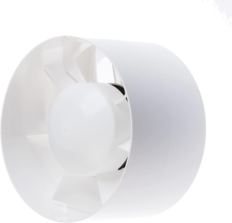 Ventilador extractor de tubo de 125 mm, con temporizador/seguimiento, Inliner silencioso para baño, invernadero, garaje, invernadero, 2 años de garantía