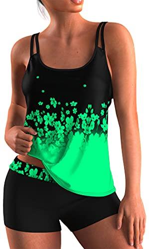 OLIPHEE Mare e Piscina Sportivo Tankini Bikini con Colori Brillante Costumo da Bangno Due Pezzi per Donna Verde L