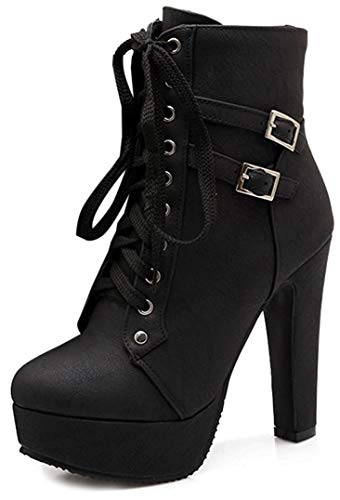 Susanny Women Autumn Round Toe Lace Up Ankle Buckle Chunky High Heel Platform Knight Black Martin Boots 11 B (M) US (CN Size_44)