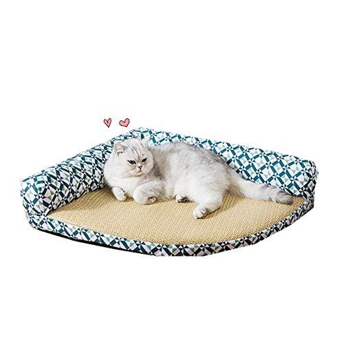 AZHLUF Rattan Matte Haustierbett Dreieck Katzenbett Waschbar Hundebett Hundekörbchen, Atmungsaktiver Baumwolle Für Katzen Fest Und Nicht Leicht Zu Pilling (Color : B, Size : S)