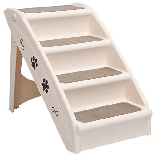 vidaXL Escalera Plegable para Perros Gatos Cachorro Automóvil Sofá Escalones Mascotas Mueble Acolchada Decoración Hogar Robusto Duradero Crema