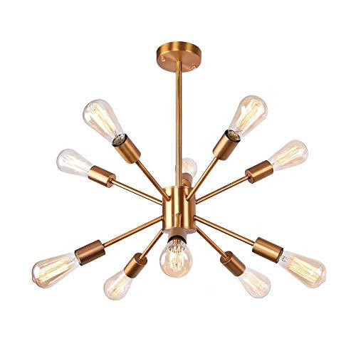 Lingkai Sputnik Kronleuchter Beleuchtung 10 Lichter Moderne Pendelleuchte E27 Deckenleuchte Messing Überzug Finish