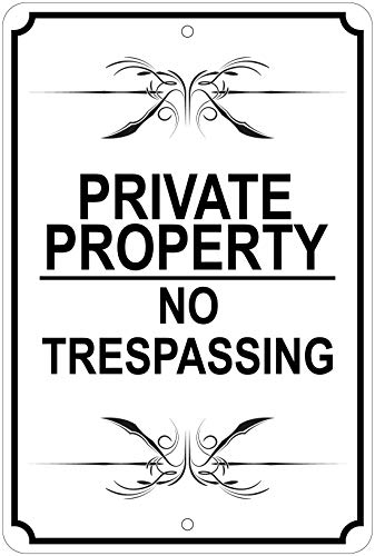 Private Property/No Trespassing (Fancy, B/W) Notice 8'x12' Aluminum Sign