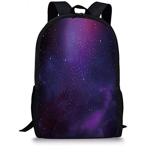 Hui-Shop Schultaschen Himmel, Galaxy Nebula Illustration Deep Space Sternhaufen und Sternbild Milchstraße Lila Pink Schwarz für Jungen Mädchen