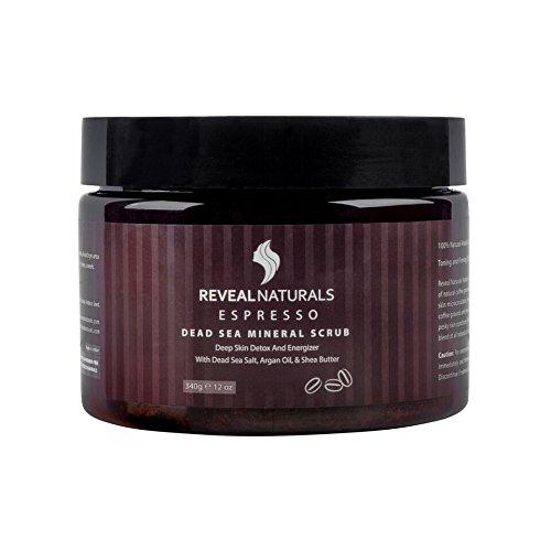 Exfoliating Arabica Espresso Coffee Scrub - Organic Facial & Body Scrub Exfoliator -Dead Sea Salts, Argan oil, Shea Butter & Coconut Oil - For Stretch Marks, Cellulite, Acne, Eczema & varicose veins