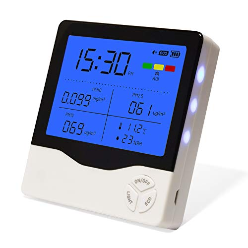 Air Quality Monitor Indoor, Air Quality Tester for Formaldehyde(HCHO) PM2.5/PM10 Temperature Humidity, Colorful LCD Screen with ECO Features, Suitable for Home Office and Various Occasion