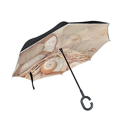 Double Layer Inverted Umbrella Winddichte Regensonnen-Regenschirme mit C-förmigem Griff - Rettungsring auf Muschel-Seestern