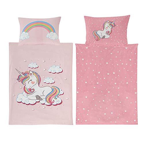 Ropa de cama infantil 100 x 135 cm para niña, unicornio, algodón, diseño de animales, color rosa con estrellas, unicornio, arco iris, unicornio, con cremallera YKK