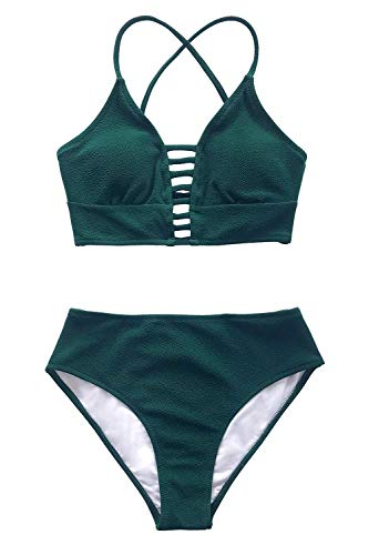 CUPSHE Damen Bikini Set mit Zierriemen Cut-Out Bademode Zweiteiliger Badeanzug Grün XL