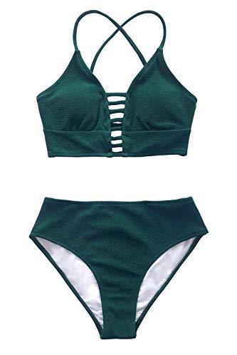 CUPSHE Damen Bikini Set mit Zierriemen Cut-Out Bademode Zweiteiliger Badeanzug Grün S