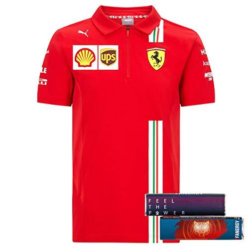 Scuderia Ferrari Team Polo 2020 Poloshirt T-Shirt Oberteil Shirt Kurzarm rot + 4X FANERGY Traubenzucker (XXL)