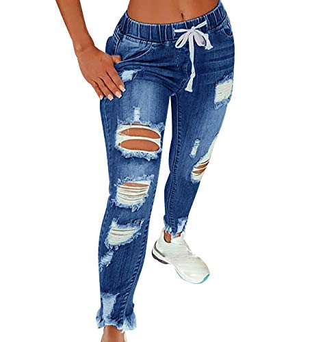 Vaqueros Rotos Mujer Cintura Alta Skinny Jeans Tiro Alto Mujer Tejanos Pantalon Vaquero Pitillo Roto Mujer Ripped Jean Mujer Pantalones Denim Mujer Fit Jeans Talle Alto Slim Pitillos Mujer Azul 2XL