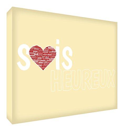 Feel Good Art Sois Heureux Bloc Décoratif en Acrylique Transparent Poli comme Diamant Crème 14,8 x 10,5 x 2 cm