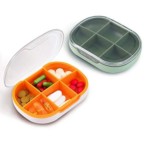 New Pill Box Organizer, 2 Pack Travel Pill Case, 6...
