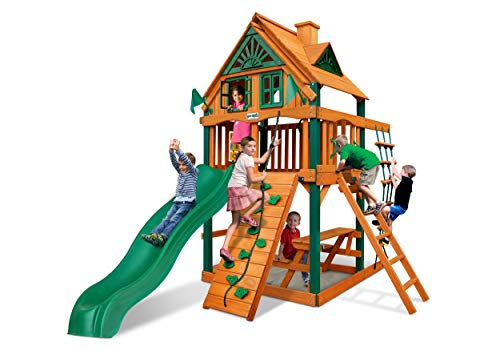 Gorilla Playsets 01-0062-TS Chateau Treehouse Tower Wooden Swing Set with Timber Shield Posts, Rock Climbing Wall, and Alpine Wave Slide, Green