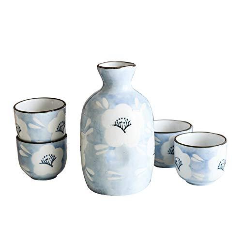 Pevfeciy Juego de Sake Japonés Sake Set ,Botella de Sake de cerámica y 4 Tazas,Tazas artesanales japonesas Hechas de Porcelana Cups Tazas De CerÁMica Manualidades Regalo