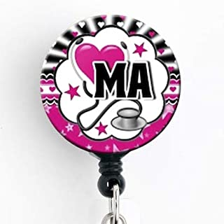 Medical Assistant Heart Bubble Pink - Retractable Badge Reel with Swivel Clip and Extra-Long 34 inch Cord - Badge Holder/Nurse Badge/Cute Badge/Hospital Badge/MA